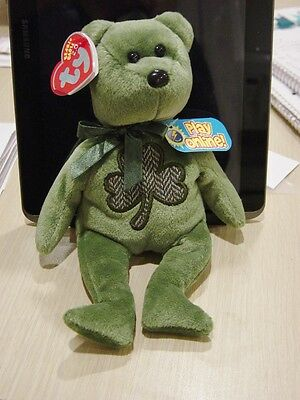 TY Beanie Baby ~ 2.0 Collection ~ Luckier the Bear ~ with Shamrock ~ Mint