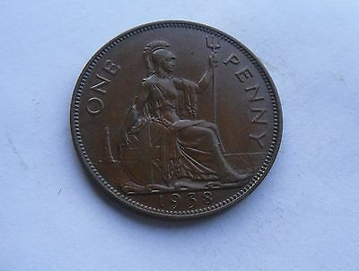 George VI,  1938 Penny, Excellent Condition.