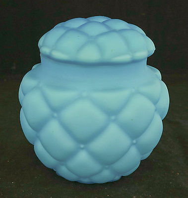 Victorian Consolidated Blue Satin Art Glass Diamond Quilted Large Biscuit Jar