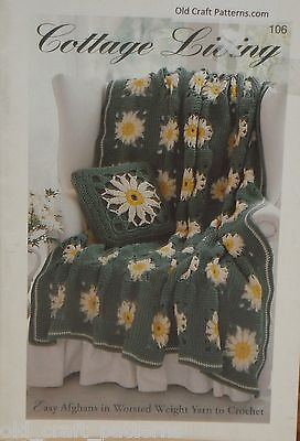 Bernat 106 Cottage Living Easy Afghans in Worsted Weight Yarn Crochet Patterns