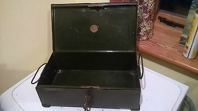 Old Antique Metal Strong box ,H.H MARTYN &CO LTD,WALSAL LOCK 1940
