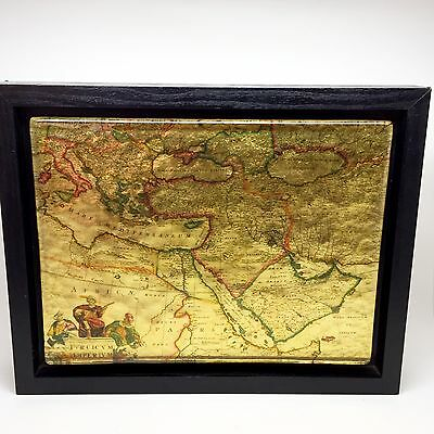 "Turcicum Imperium Frederick De Wit Glass Gold Foil Map Framed 9.5"" x 12"""