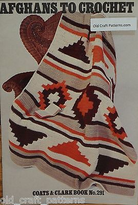 Coats & Clarks 291 Afghans to Crochet Patterns Classic Granny &  Indian Design