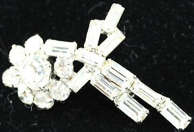 Vintage Brooch-Baguette & Round Cut Clear Stones-2""