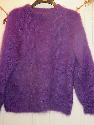 Vintage 80's hand knitted mohair bright purple jumper