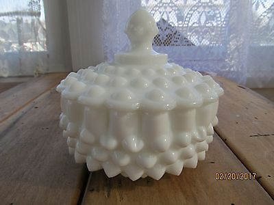 Fenton Milk Glass Hobnail Candy Dish and Lid