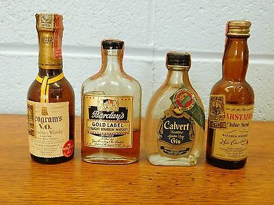 Vintage~ Lot of 4~Mini 1/10 Pints Seagrams~Calverts~Carstairs~Barclay's Gold