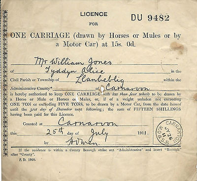 Vintage 1911 Carriage Licence