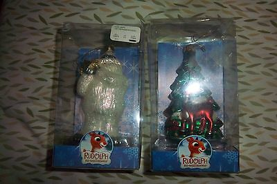 Rudolph The Red Nosed Reindeer & HUMBLE BUMBLE Brass Key Hand Glass Ornament