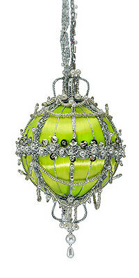DIY Cracker Box Ornament kit Minuiet (Lime Ball w/ silver accents)