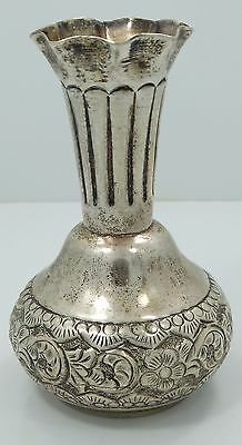 Gorgeous Sterling Silver Ornate Flower Hammered 4 Inch Detailed Bud Vase B3804