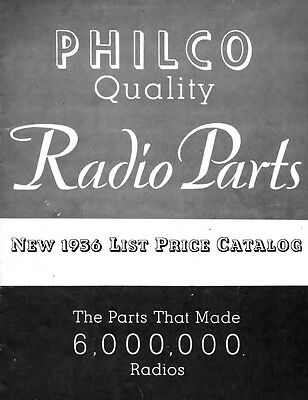 1936 Philco Antique Radio Parts Catalog on CD