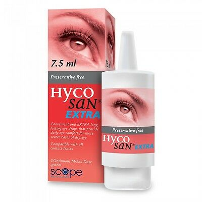 2 x Hycosan Extra 7.5ml Bottles Preservative Free Eye Drops UK Seller Bargain