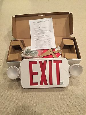 One source Lighting All Led Decorative Red Exit Sign & Emergency Light Combo