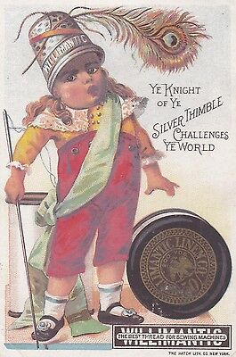 "Antique Victorian Trade Cards ""WILLIMANTIC"" Sewing Needle & Thimble Spool Cotton"