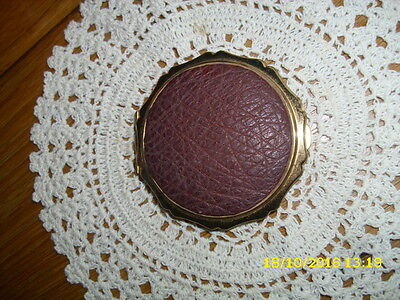Very Rare Vintage Stratton Powder Compact Brown Leather Lid