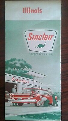 Sinclair road map illinois 1961 very nice Condition great colors beautiful rare