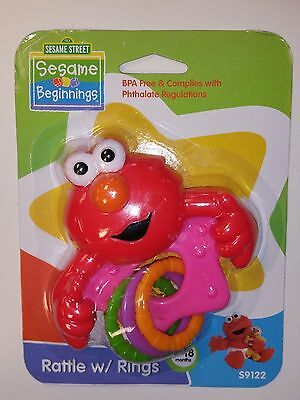 NEW Sesame Street Sesame Beginnings Baby Elmo Rattle w /Rings 0-18 mo NIP
