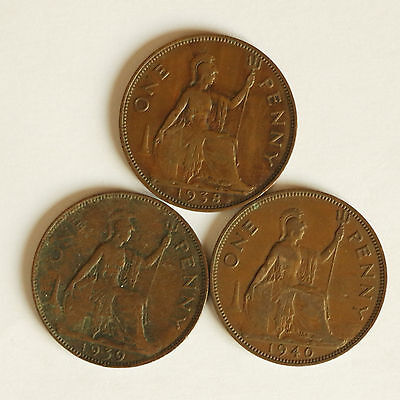 Three George VI pennies dated 1938 to 1940