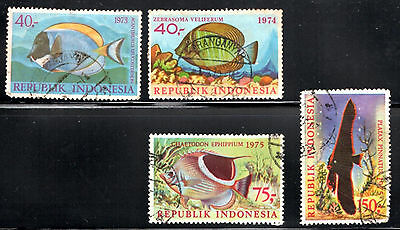 stamps INDONESIA A147(4) FISH SET LOT