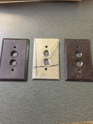 Lot Of 3 Vintage Push Button Switch Plates.