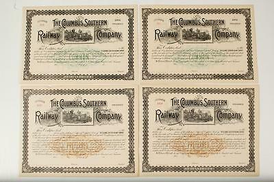 THE COLUMBUS SOUTHERN RAILWAY COMPANY ~ 4 stocks (prefered+common)