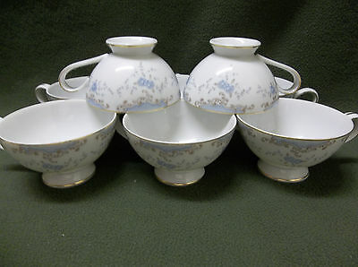 8 Cups By Imperial China In Seville White W/blue Gold Trim Exc. Cond.