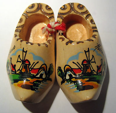 """Miniature Wooden Shoes - Holland - Painted Farm Scene with Windmill -  3"""" Long"""