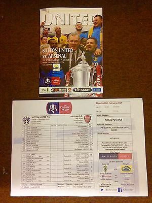 SUTTON UNITED v ARSENAL FA CUP PROGRAMME& Colour Teamsheet.5th Round. 2016/17.