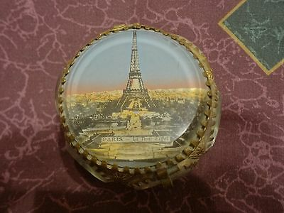Antique French Souvenir Box, Eglomise Jewelry Box Casket: Eiffel Tower