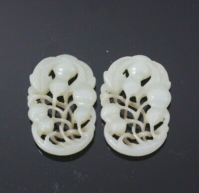 Antique Chinese Carved White He Tian Jade Plate Pair - Circa Early Qing Dynasty