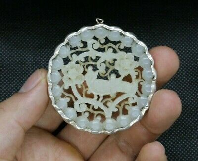 Antique Chinese Carved White He Tian Jade Plate  - Circa Early Qing Dynasty