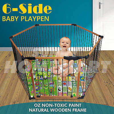 6 Panels Natural WOODEN Baby Toddler PLAYPEN , KIDS TODDLER , PET PEN , FENCE