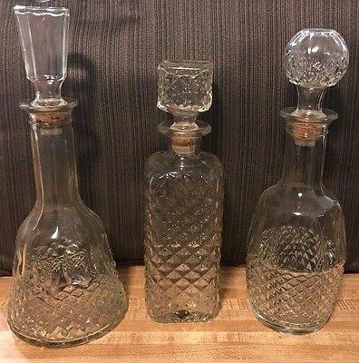 Set of 3 Crystal Decanters-Wine/Whiskey
