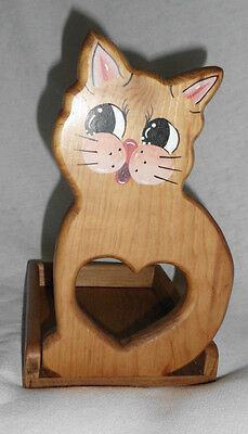 "Cat Tray Vintage Handcrafted Wood 9.25"" X 6.6"" X 5.5"" Handpainted Face Heart Cut"