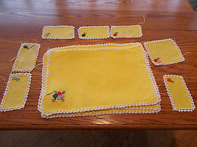 Vintage Italian Bright Yellow & White Placemats, Coasters, and Wine Holder Set
