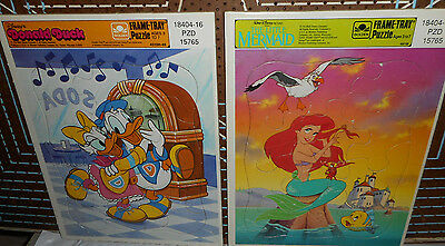 91--THE LITTLE MERMAID  & DONALD DUCK Frame Tray Puzzles/8¼ x 11 EC/12 pieces