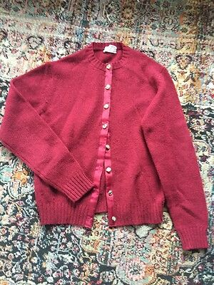 Vintage Aston Ladies Sweater 100% Shetland Wool Maroon Red Gold Buttons Size Lg