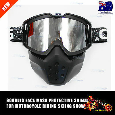 Black Motorcycle Goggles With Face Mask Protective Shield Suits Open Face Helmet