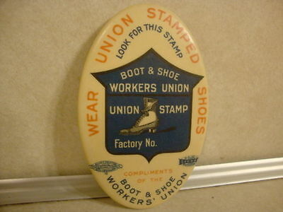 Vintage Advertising Pocket Mirror Compliments of Workers Union Boots & Shoes!