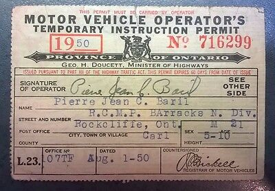1950 MOTOR VEHICULE OPERATOR'S LICENCE, Royal Canadian Mounted Police.RCMP.