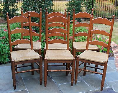 Antique French Oak Ladder Back Chairs Rush Seats Farmhouse Table SET of 6
