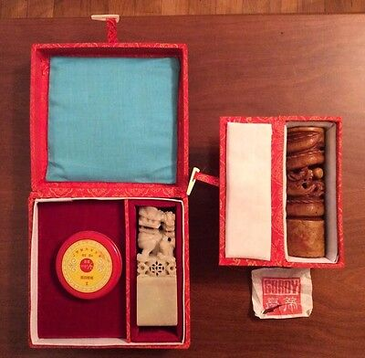 Vintage Chinese Chop Stamp Seal With Original Boxes Estate Sale Lot