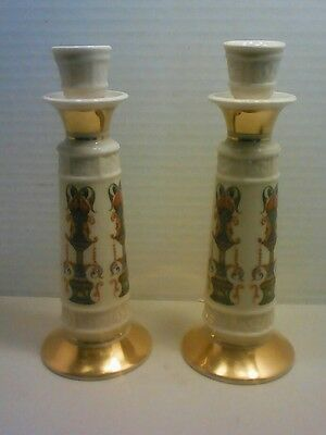 """2 LENOX Lido 8"""" Candlestick Candle Holders Hand Decorated 24K Gold"""