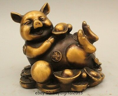 "4""Lucky China Chinese Fengshui Bronze Zodiac Year Wealth Money Yuan Bao Pig"