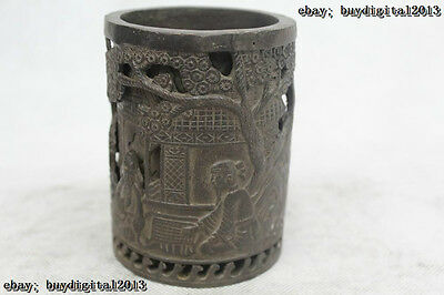 """4""""Chinese Folk Pure Bronze excellent Lucky Lifelike play chess brush pot"""