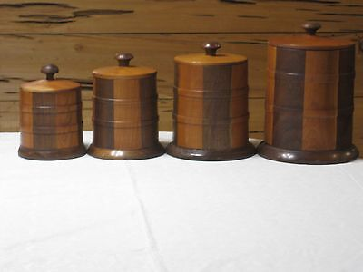 Vintage Hand Crafted Wood Canister Set EXCELLENT