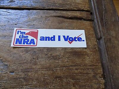 "Vintage ""I'm the NRA and I Vote"" Bumper Sticker (Red, White & Blue)"