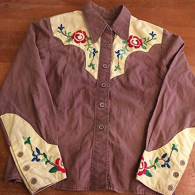Embroidered Floral Womens Medium Vintage 50s Cotton Western Cowboy Shirt