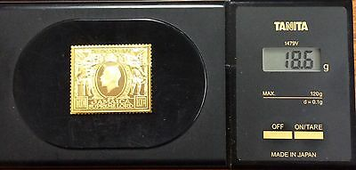 The empire collection gold plated silver stamp .925 - Jamaica  18.6 grams